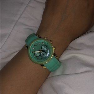 Accessories - Green watch with gold fixtures